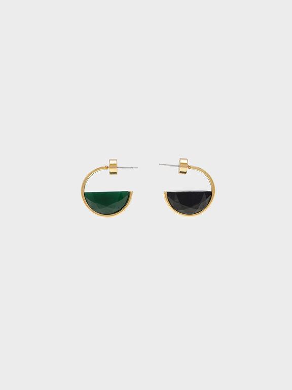 Black Marble Hoop Earrings, Green