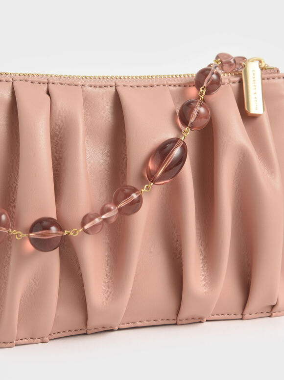 Beaded Strap Ruched Shoulder Bag, Blush, hi-res