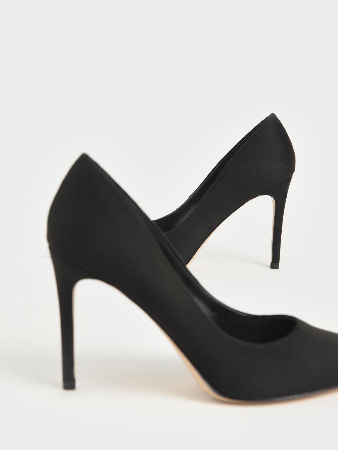 Textured Stiletto Heel Pumps, Black, hi-res