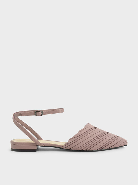 Pleated Ankle Strap Flat Pumps, Mauve, hi-res