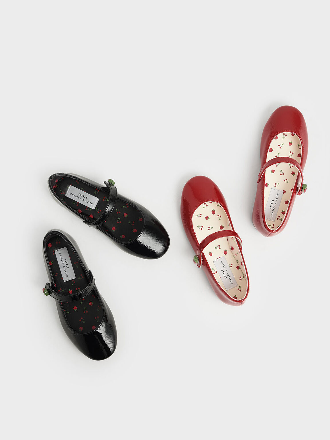 Girls' Strawberry Wrinkled Patent Mary Jane Flats, Black, hi-res