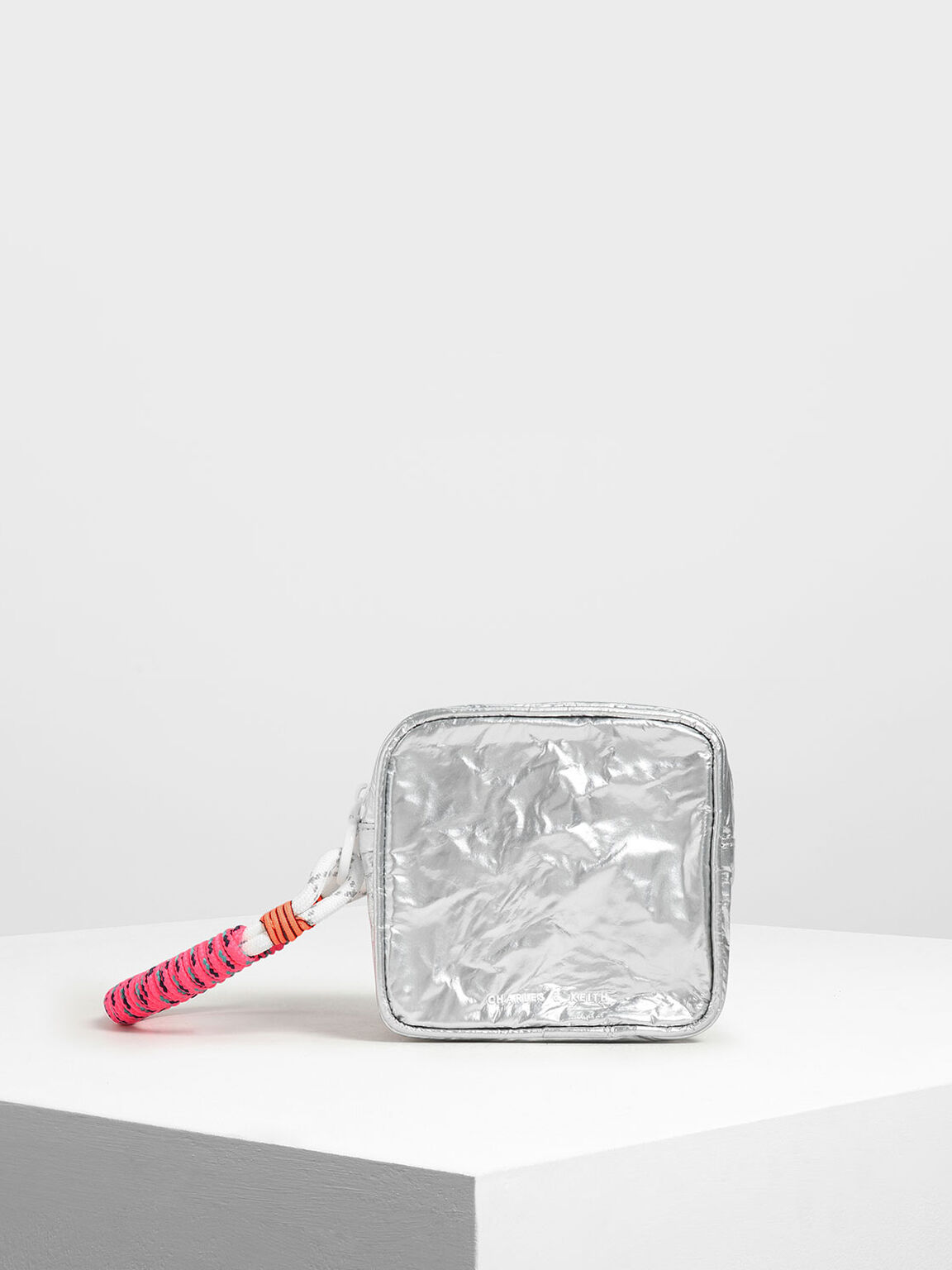 Crumpled Effect Zipper Pouch, Silver, hi-res