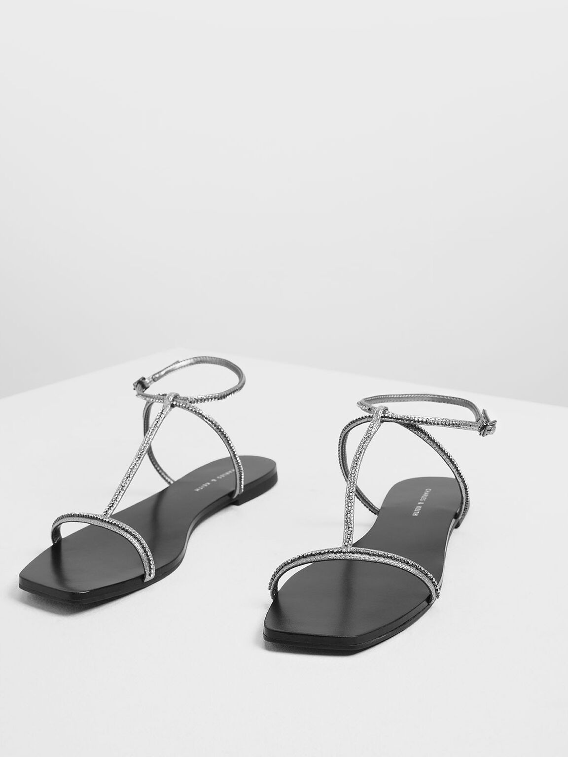 Embellished T-Bar Metallic Sandals, Silver, hi-res