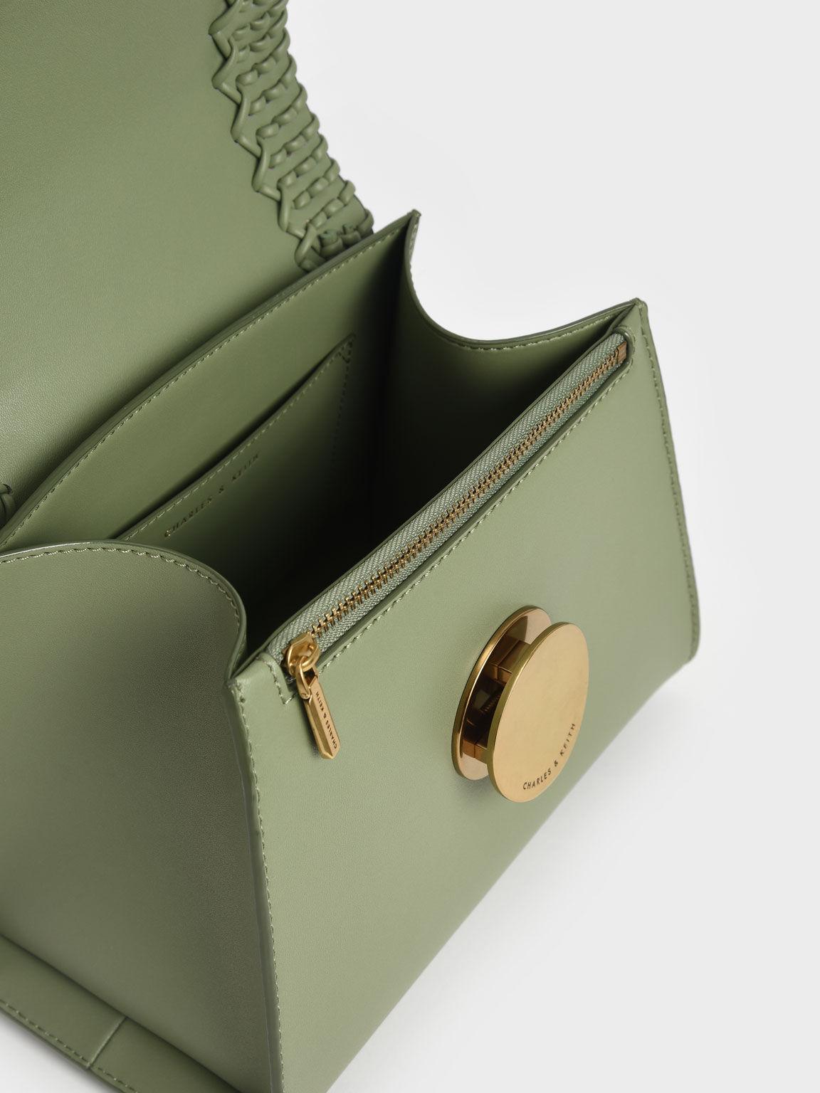 Woven Top Handle Bag, Sage Green, hi-res