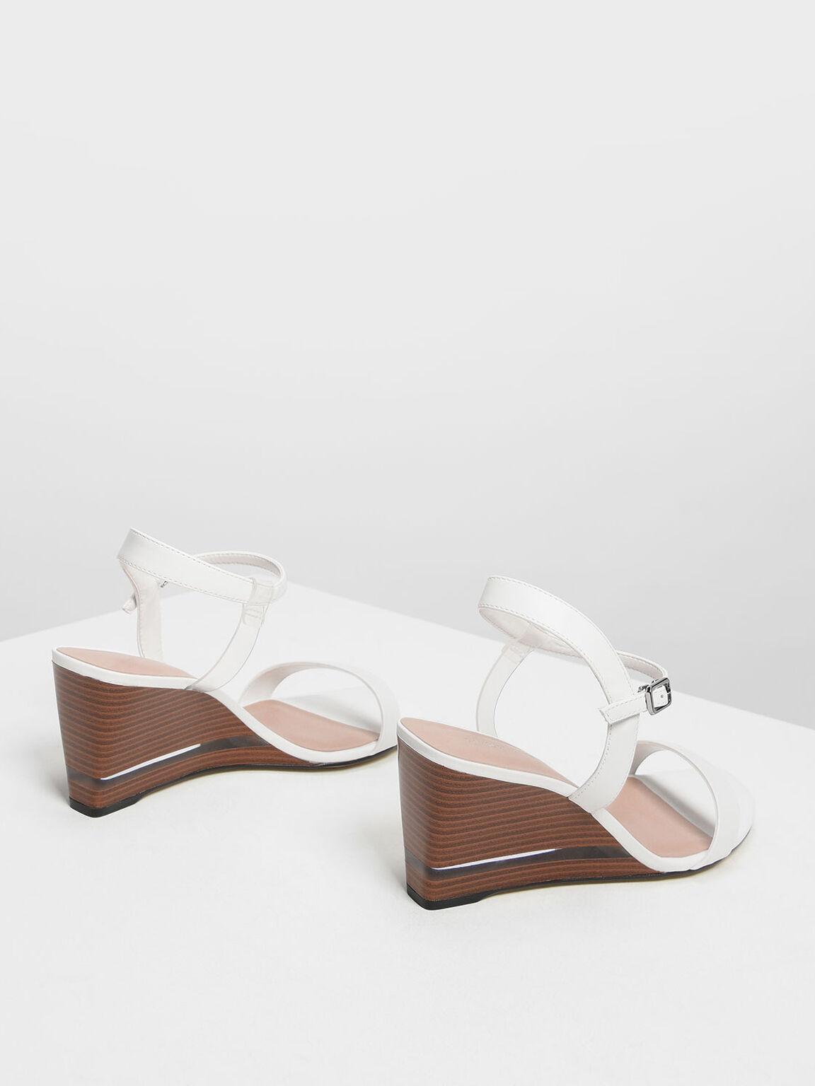木質楔形涼鞋, 白色, hi-res