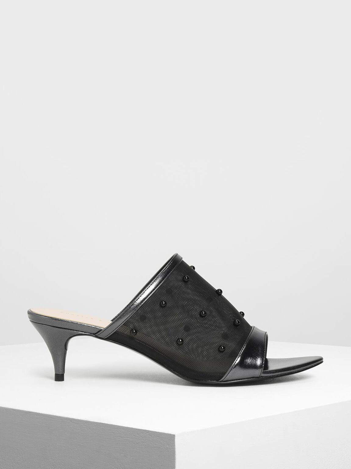 Embellished Mesh Kitten Heel Slide Sandals, Black, hi-res