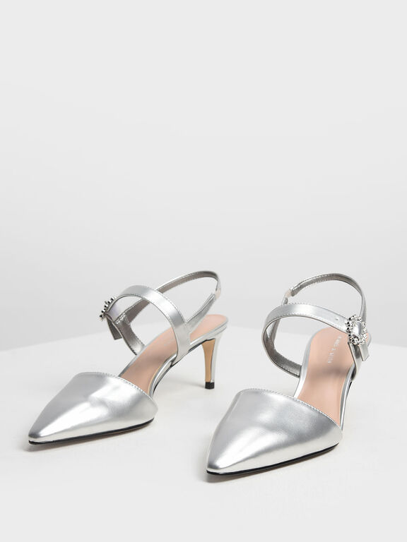 Metallic Mary Jane Slingback Pumps, Silver