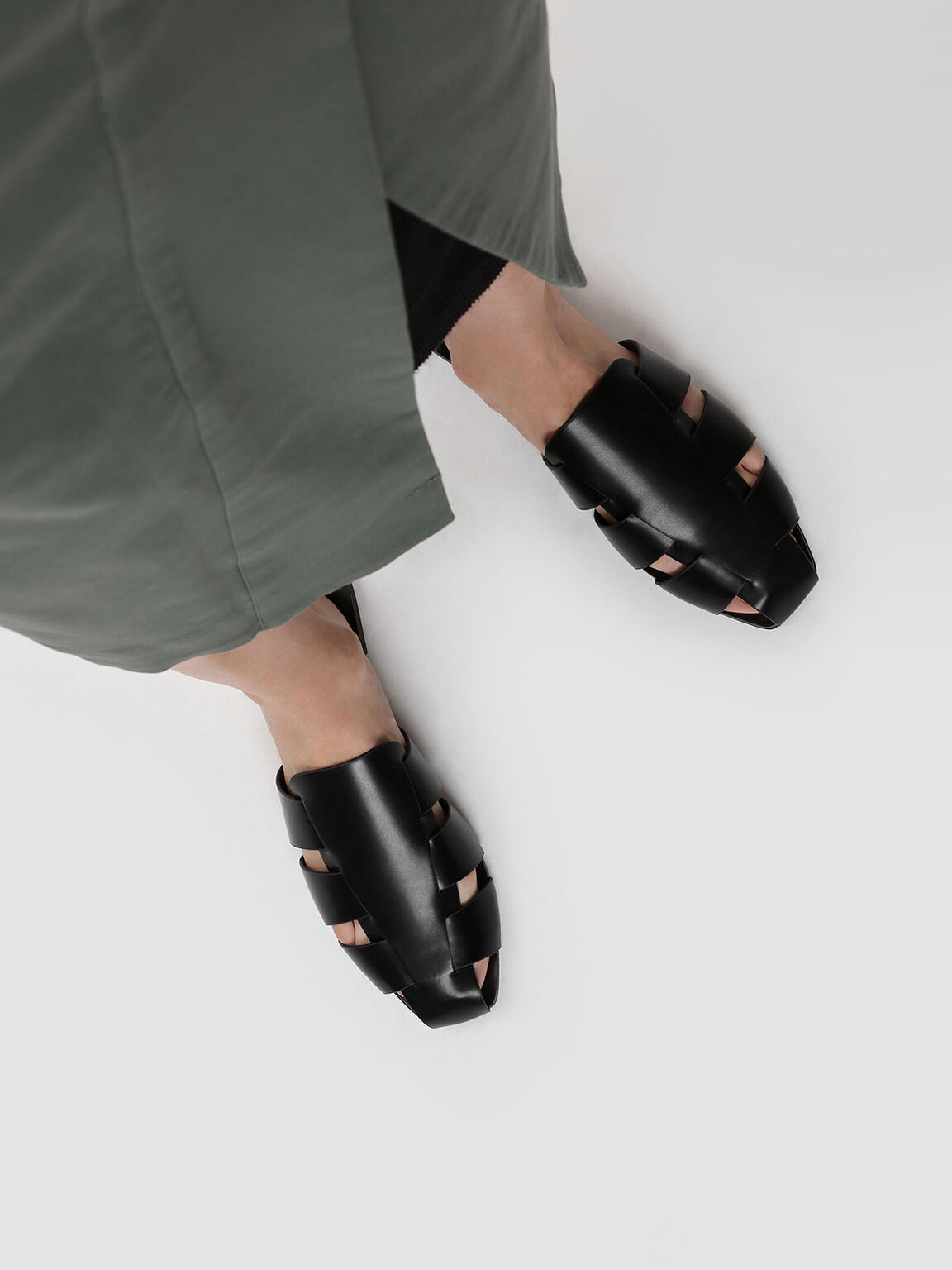 Weaved Slip Ons, Black, hi-res