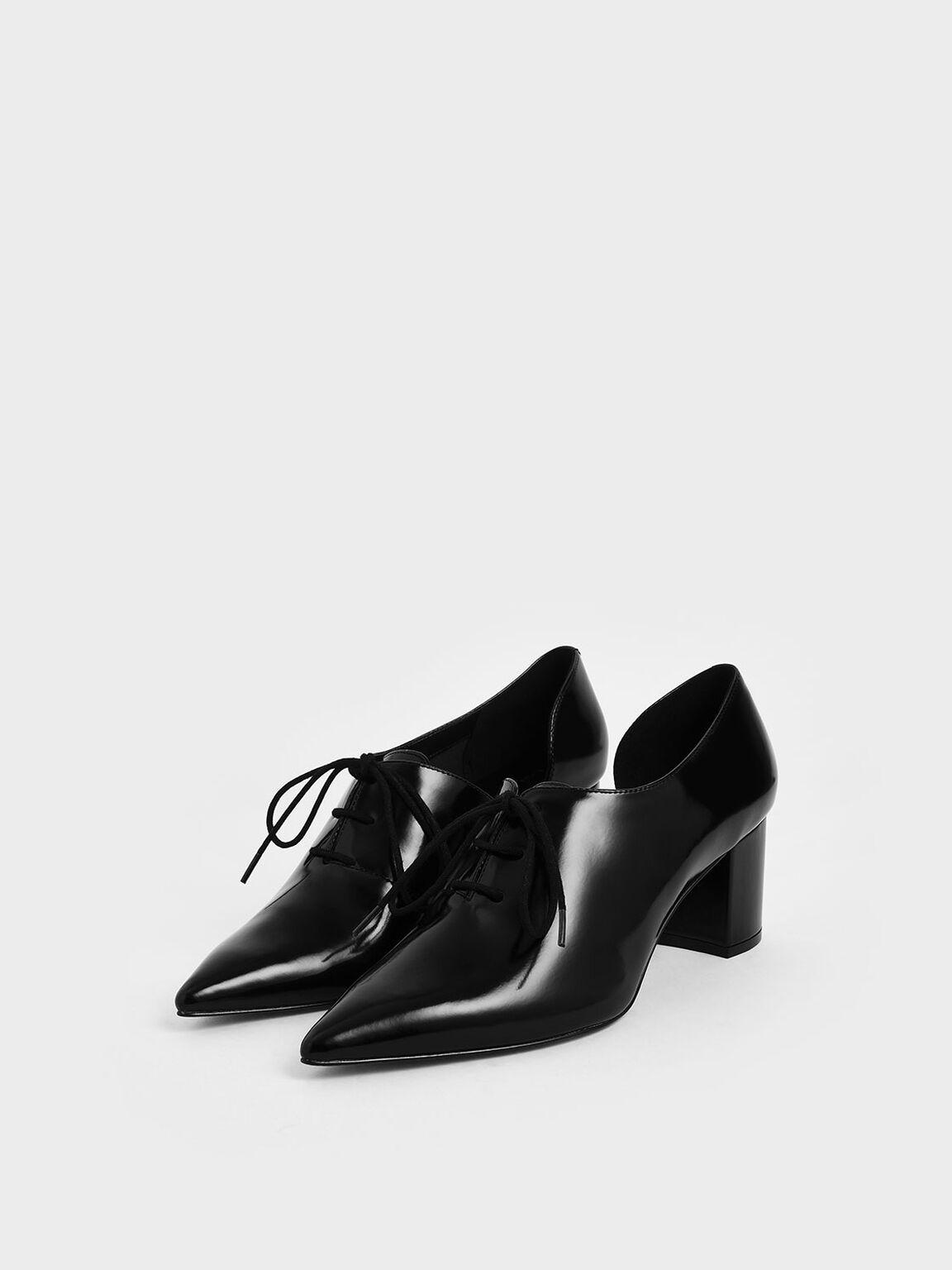 D'Orsay Oxford Block Heels, Black, hi-res