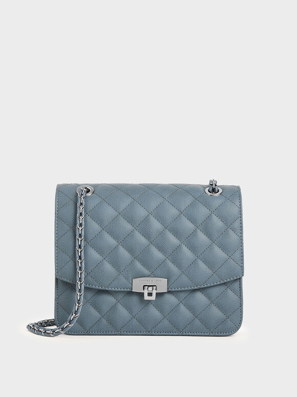 Quilted Chain Strap Bag, Blue, hi-res