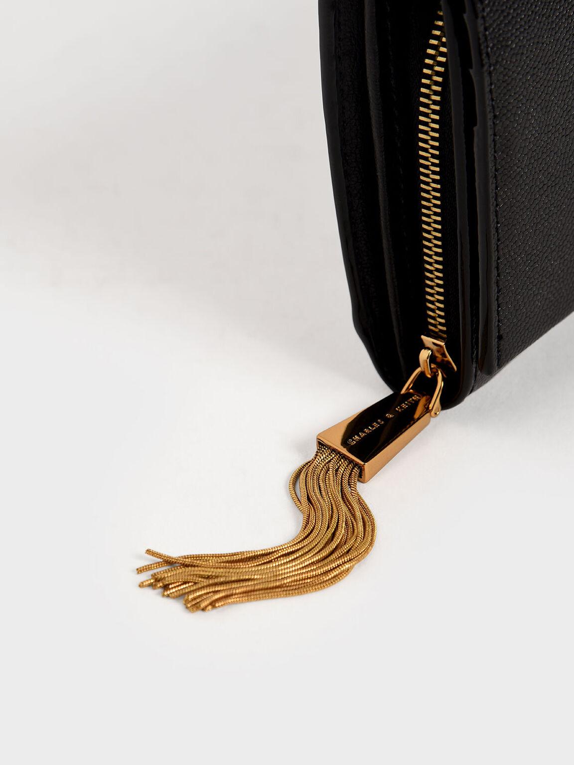 Tassel Detail Long Wallet, Black, hi-res