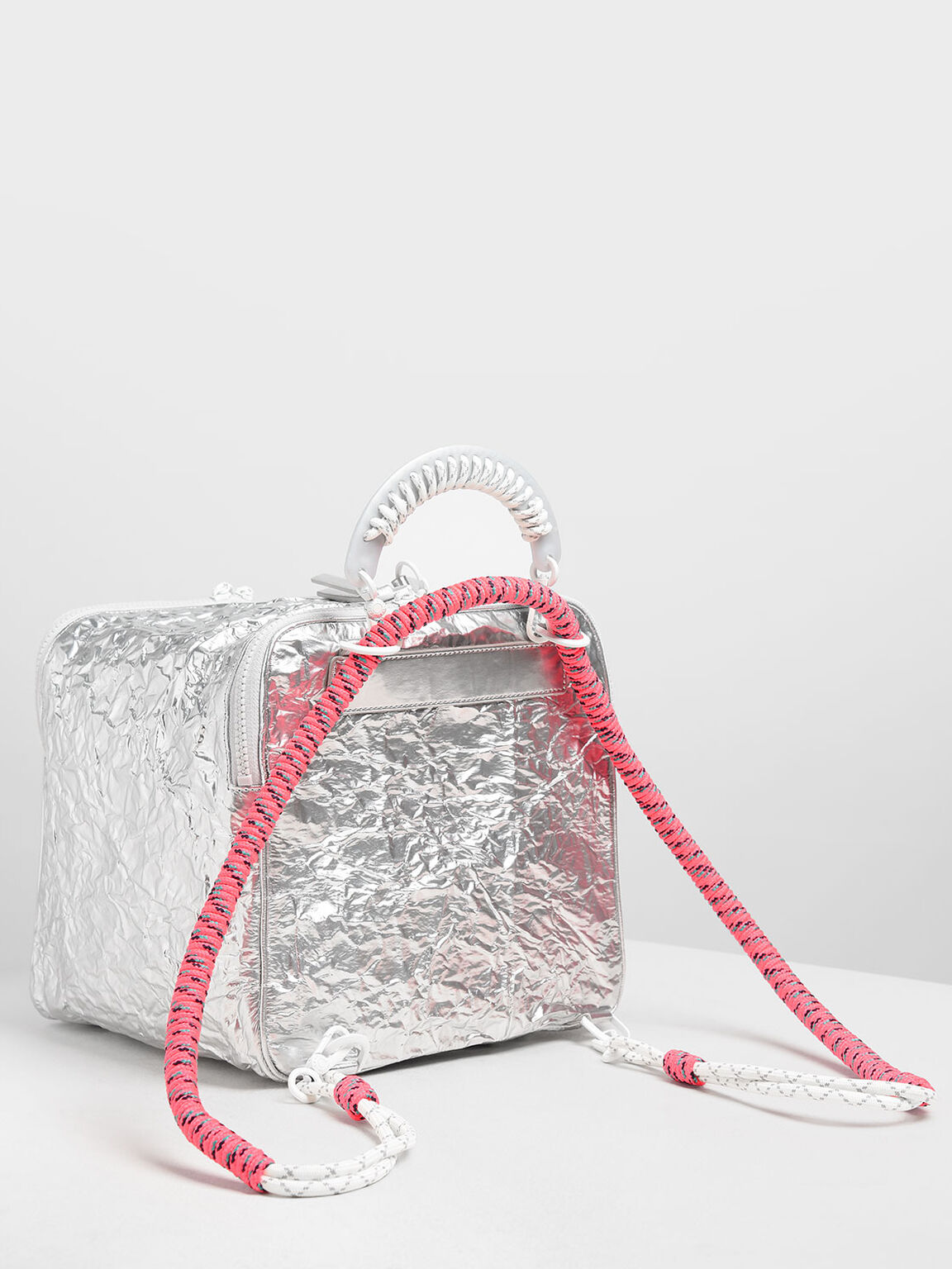 Rope Handle Wrinkled Effect Metallic Backpack, Silver, hi-res