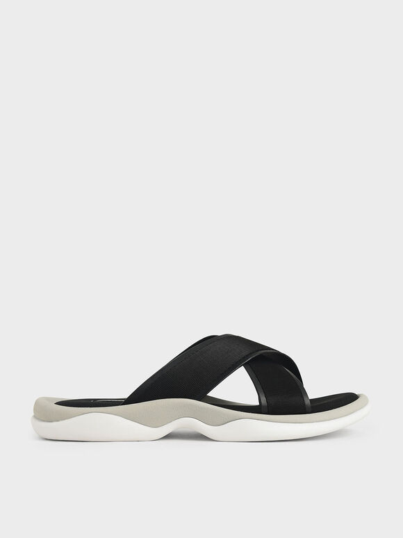 Grosgrain Slide Sandals, Black, hi-res