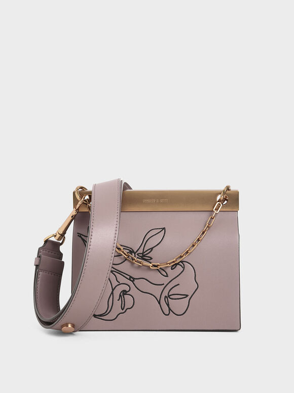 Floral Embroidered Chain Handle Bag, Mauve, hi-res