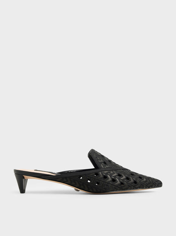 Leather Laser Cut Mules, Black, hi-res