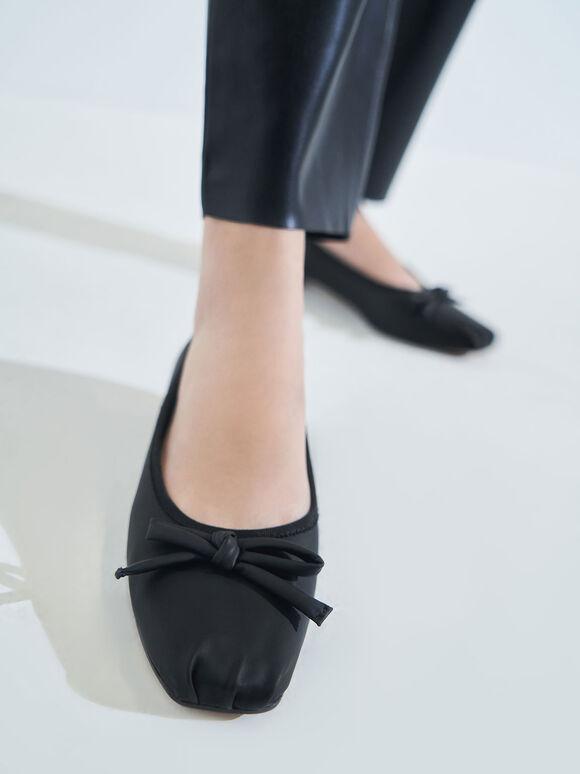 蝴蝶結抓皺方頭鞋, 黑色, hi-res