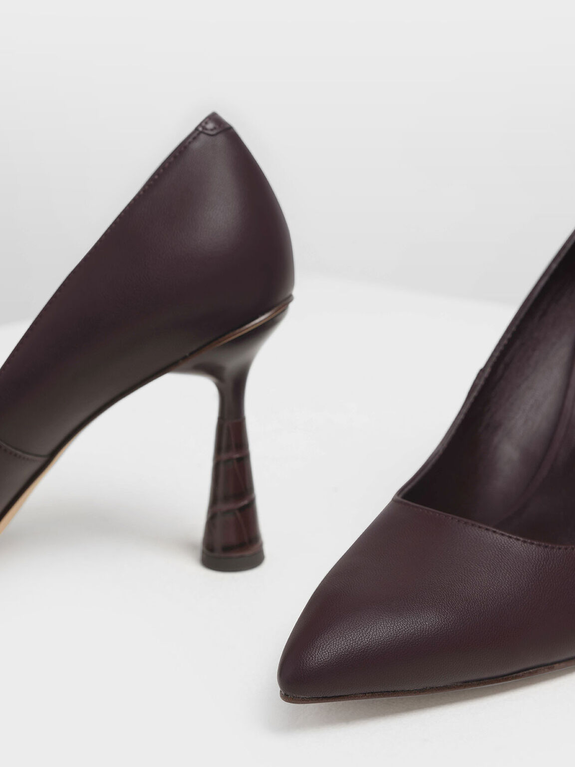 Sculptural Heel Pointed Toe Pumps, Burgundy, hi-res