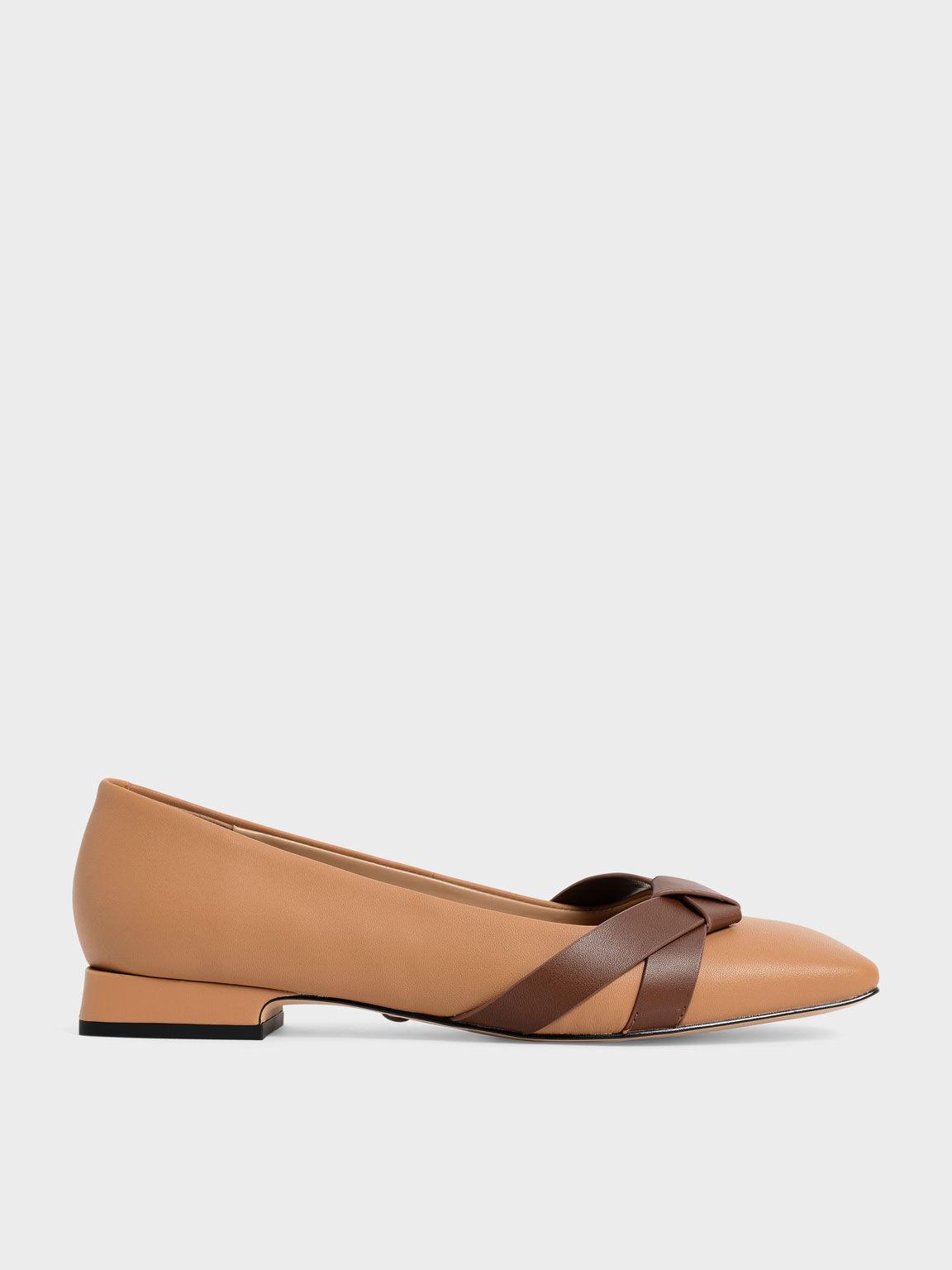Leather Bow-Tie Ballerinas, Caramel, hi-res