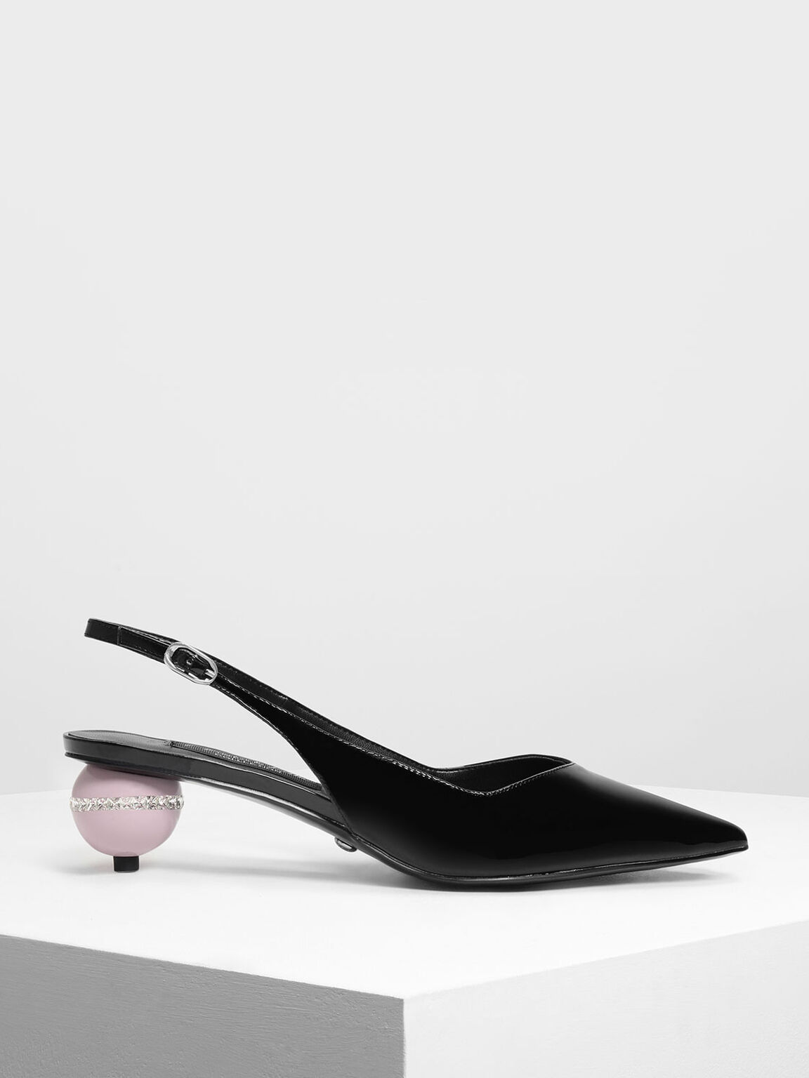 Leather Spherical Slingback Heels, Black, hi-res