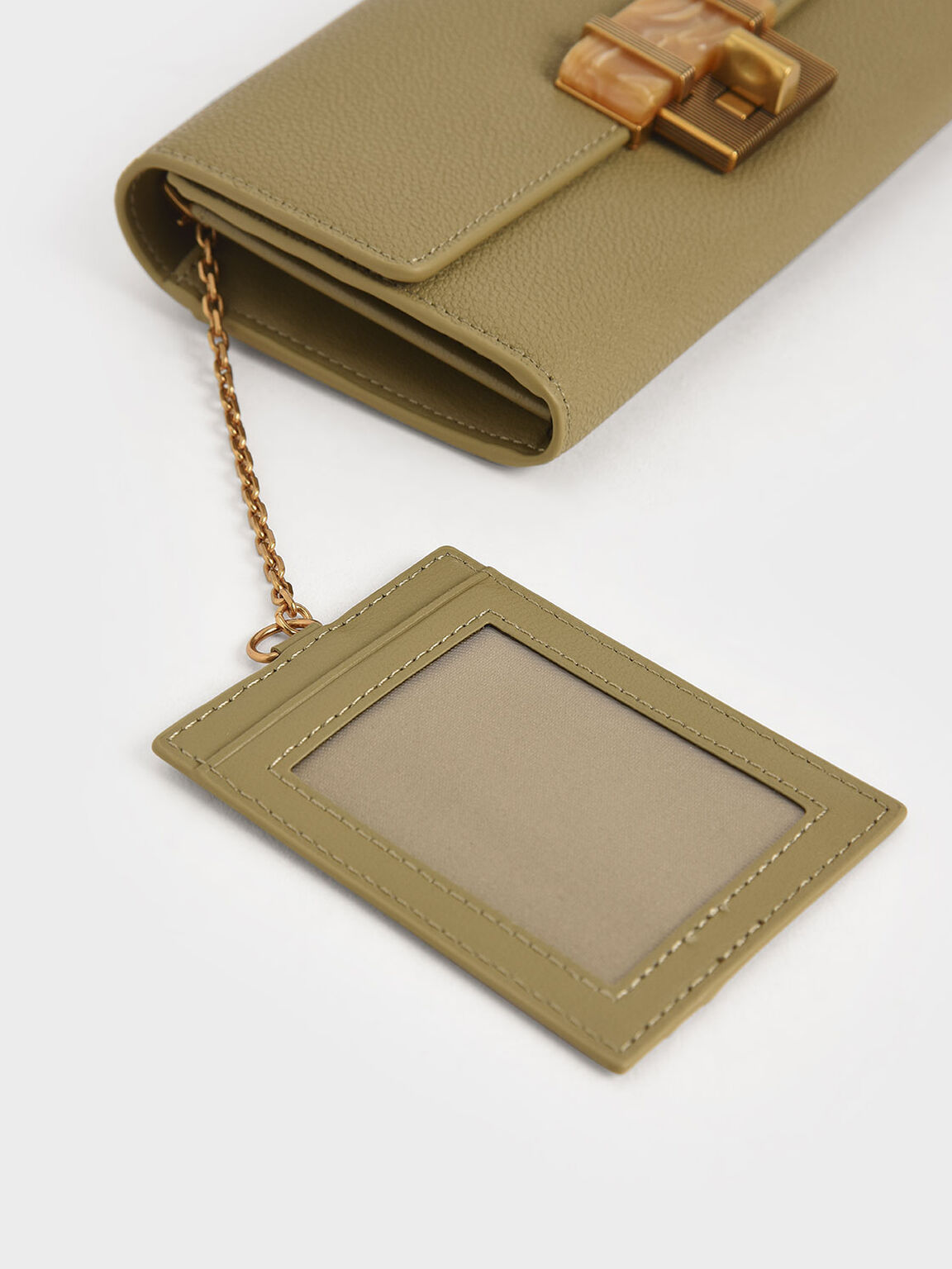 Stone-Embellished Long Wallet, Khaki, hi-res