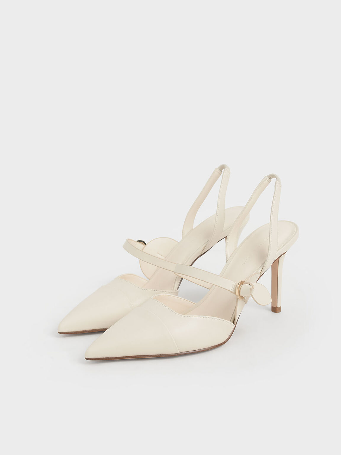 Mary Jane Strap Slingback Pumps, Cream, hi-res