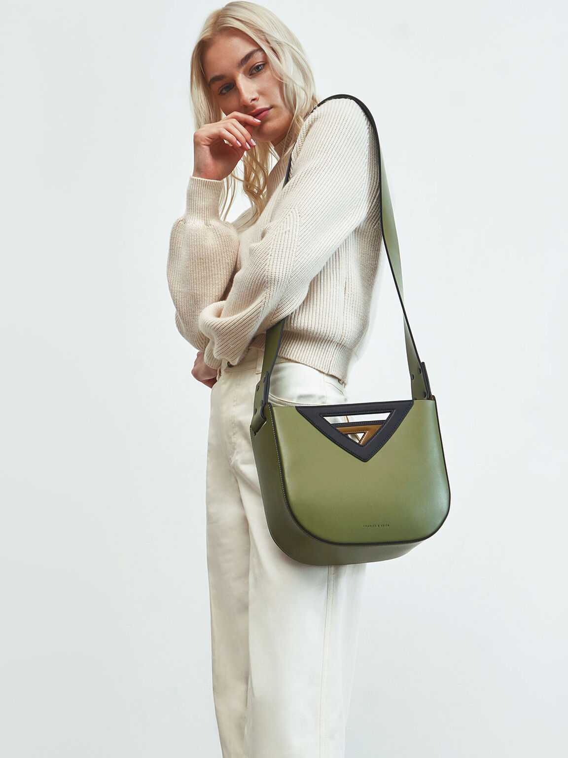 Triangle Handle Tote Bag, Olive, hi-res