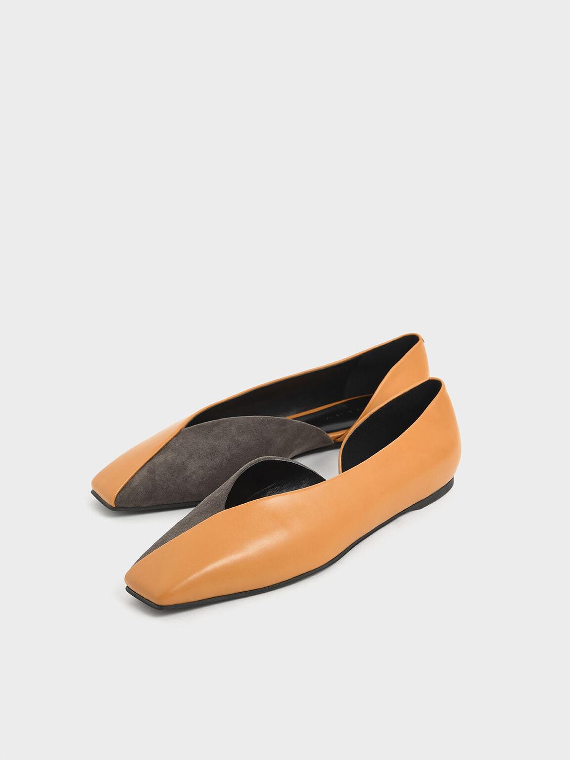 Two-Tone Textured D'Orsay Flats, Caramel, hi-res