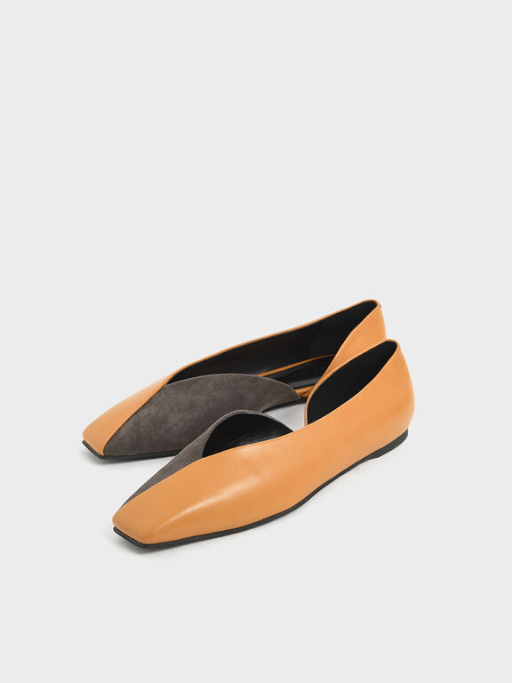 Two-Tone Textured D'Orsay Flats, Caramel