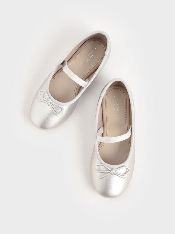 Girls' Metallic Bow Ballerina Flats, Silver, hi-res