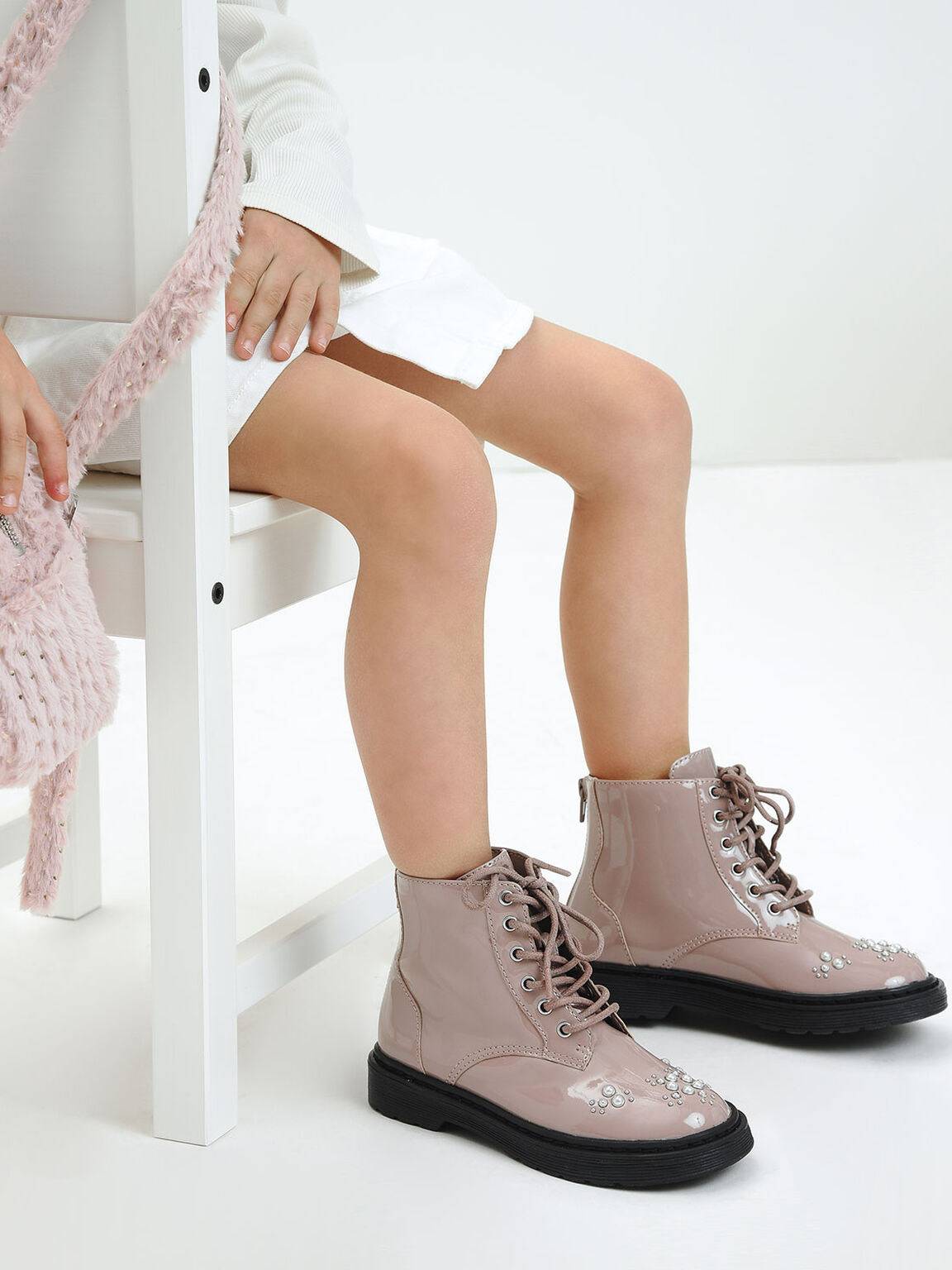 Girls' Embellished Patent Lace-up Boots, Nude, hi-res