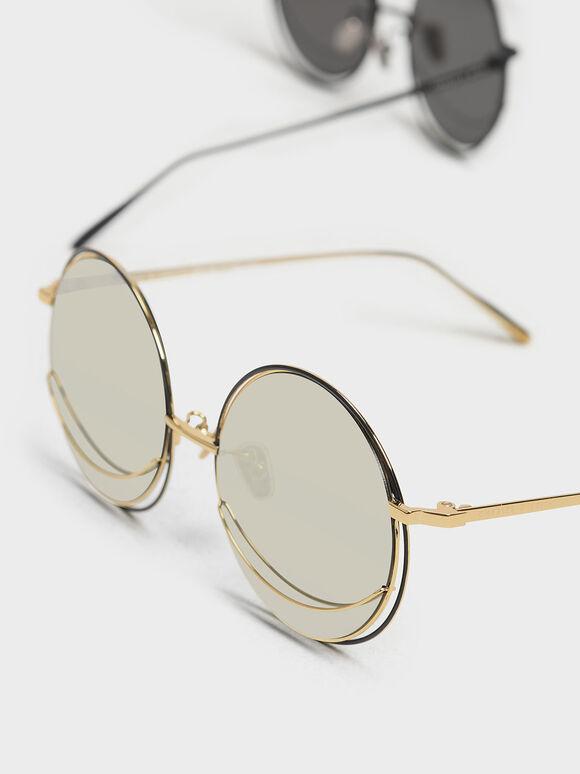 Circle Frame Sunglasses, Silver, hi-res