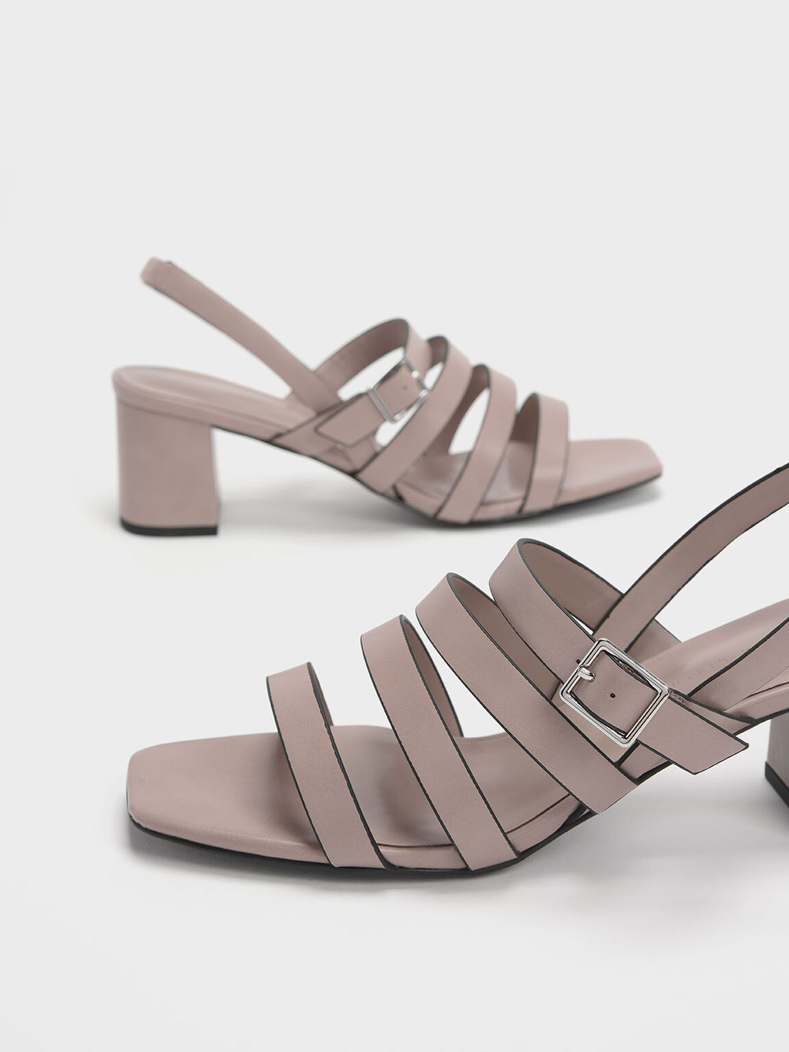 Strappy Block Heel Slingback Sandals, Nude, hi-res