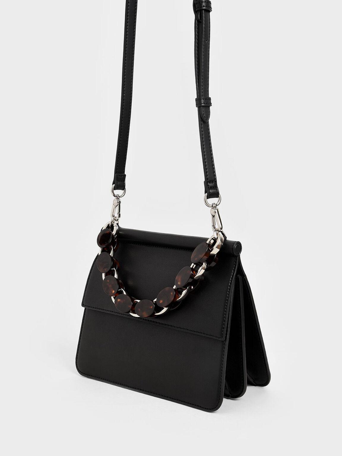 Acrylic Tortoiseshell Top Handle Bag, Black, hi-res