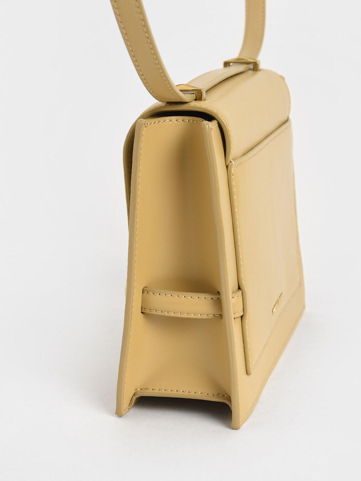 Metallic Push-Lock Crossbody Bag, Yellow, hi-res