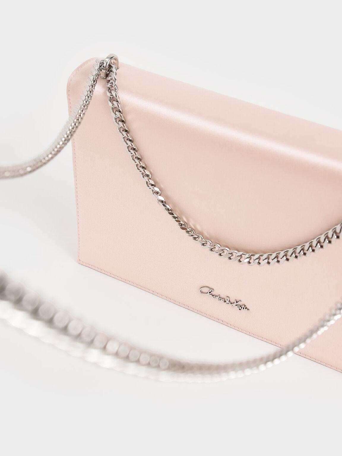 Wedding Collection: Embellished Buckle Satin Crossbody Bag, Pink, hi-res