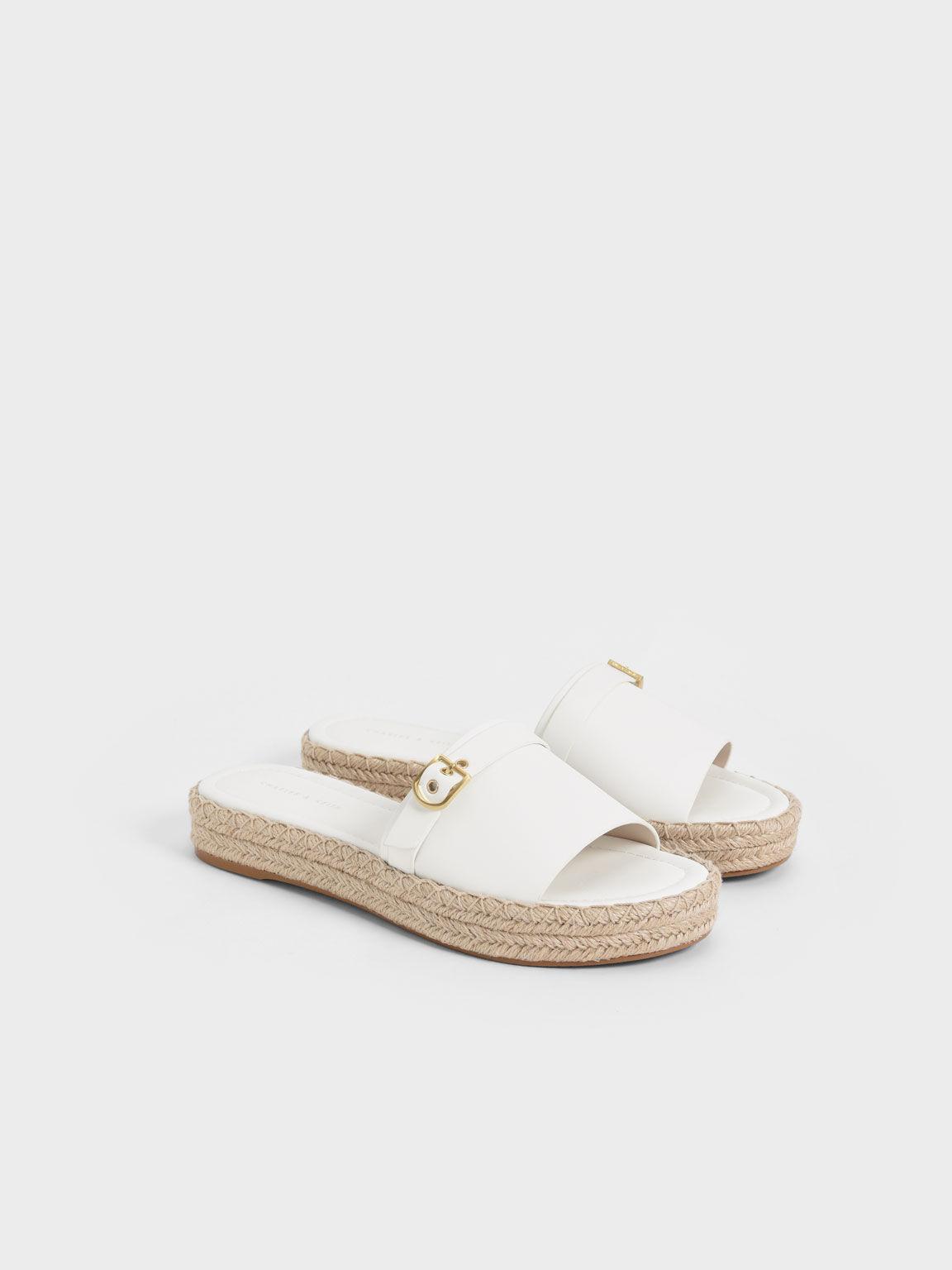 Buckle Strap Espadrille Sandals, White, hi-res