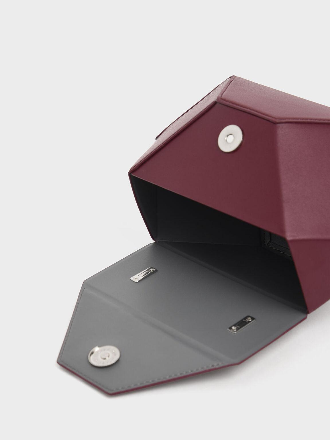 Demi Chain Handle Hexagon Bag, Burgundy, hi-res