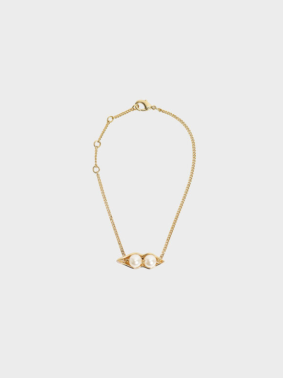 'Peas In A Pod' Friendship Bracelet, Gold, hi-res