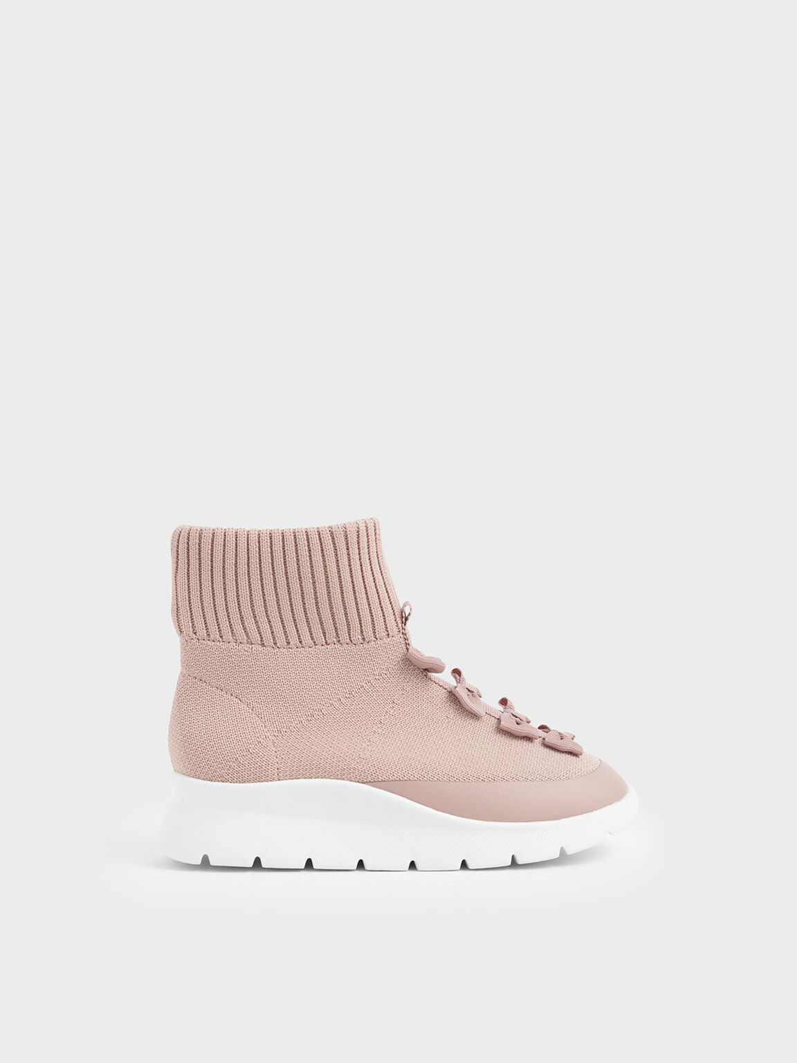 Girls' Knitted High Top Slip-On Sneakers, Pink, hi-res