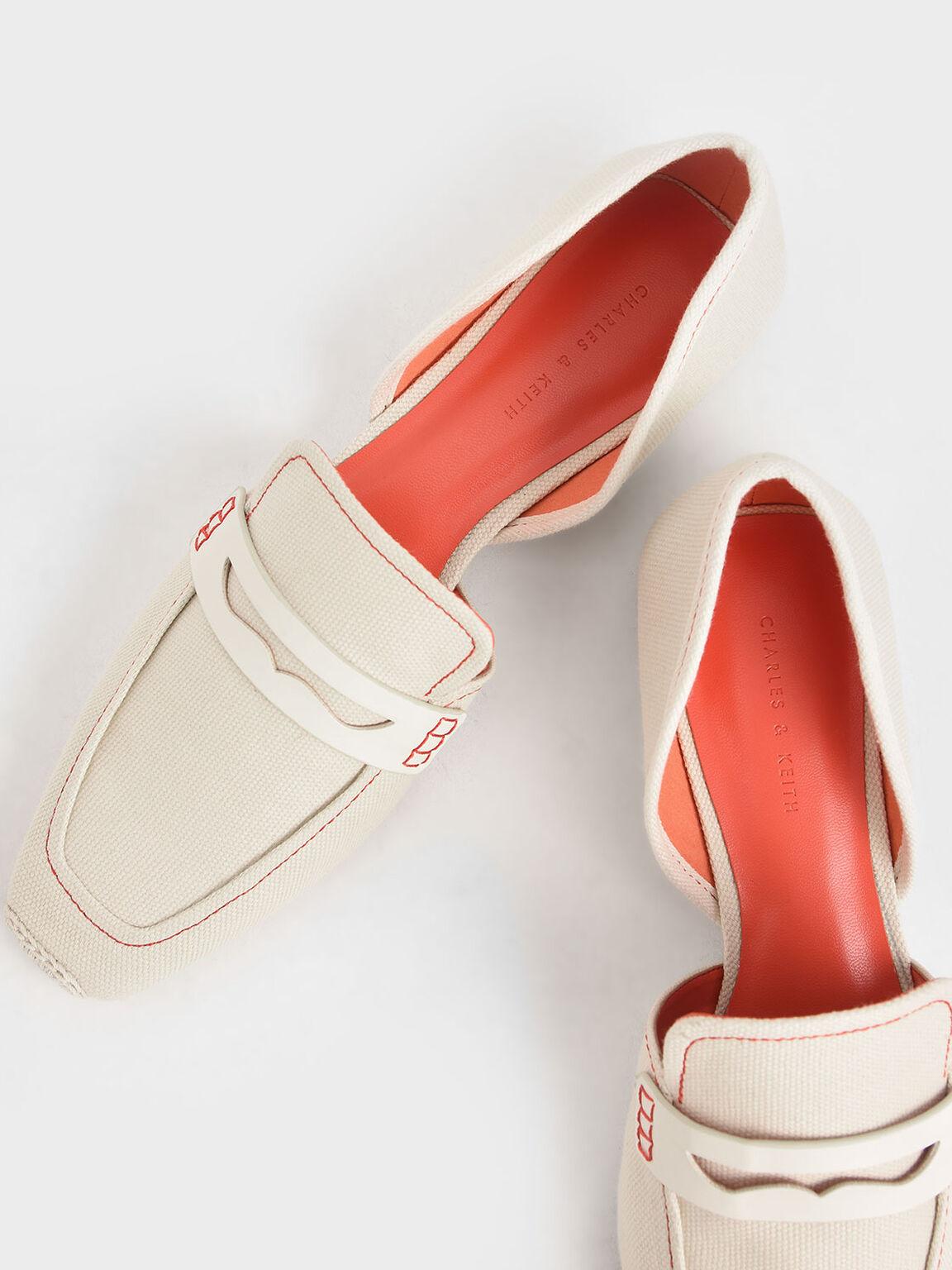 Espadrille Toe Cap Penny Loafers, Cream, hi-res