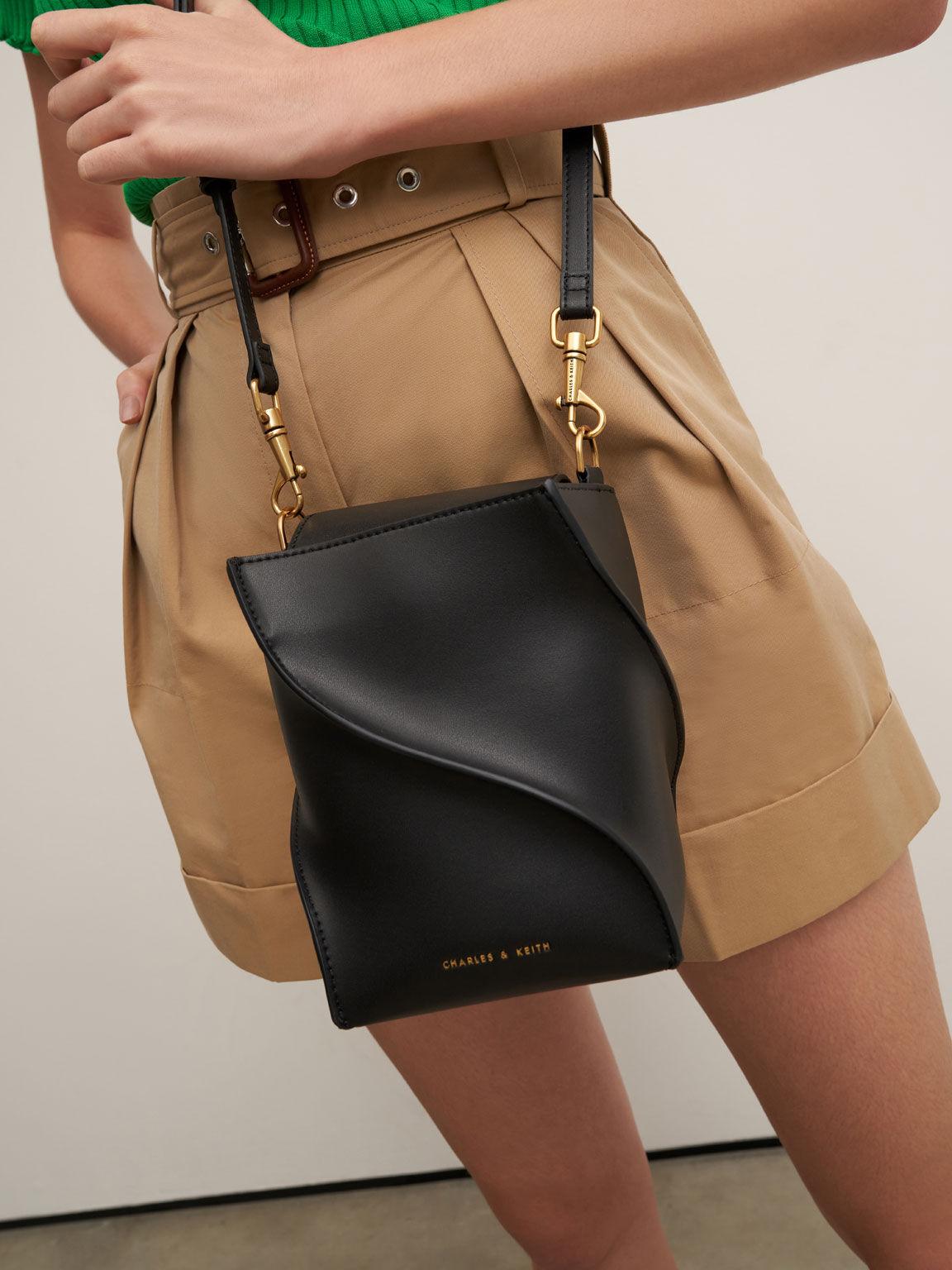 Sculptural Bucket Bag, Black, hi-res
