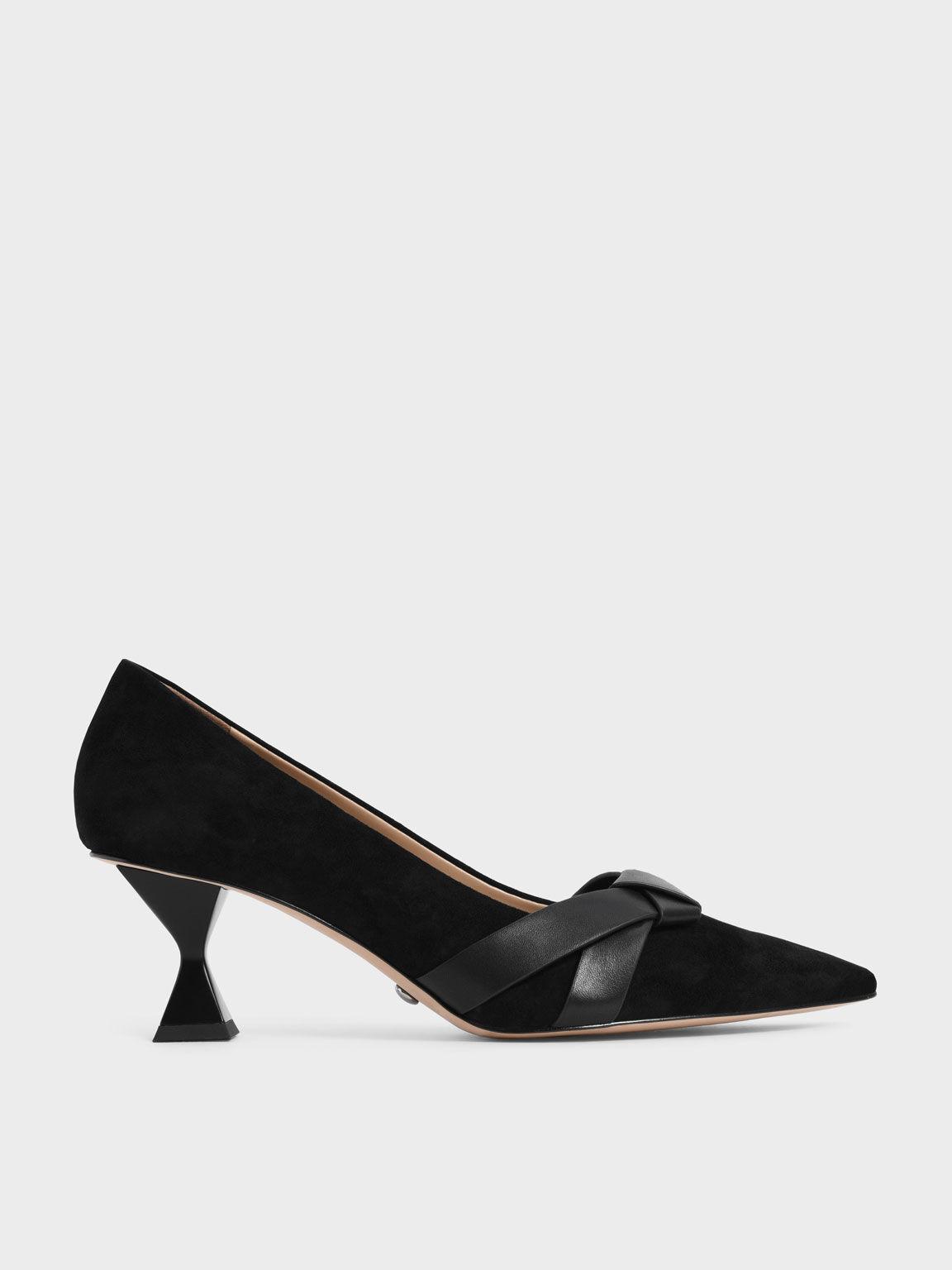 真皮扭結尖頭跟鞋, 黑色, hi-res