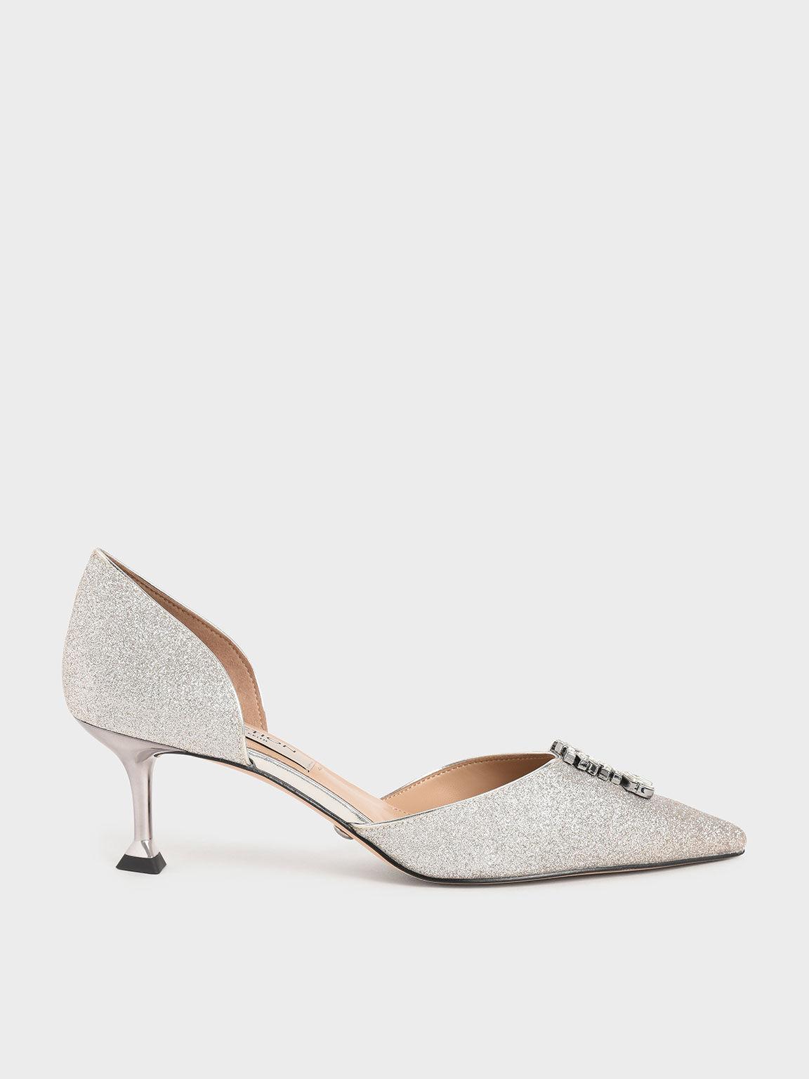 Wedding Collection: Glittered Gem-Embellished D'Orsay Pumps, Silver, hi-res