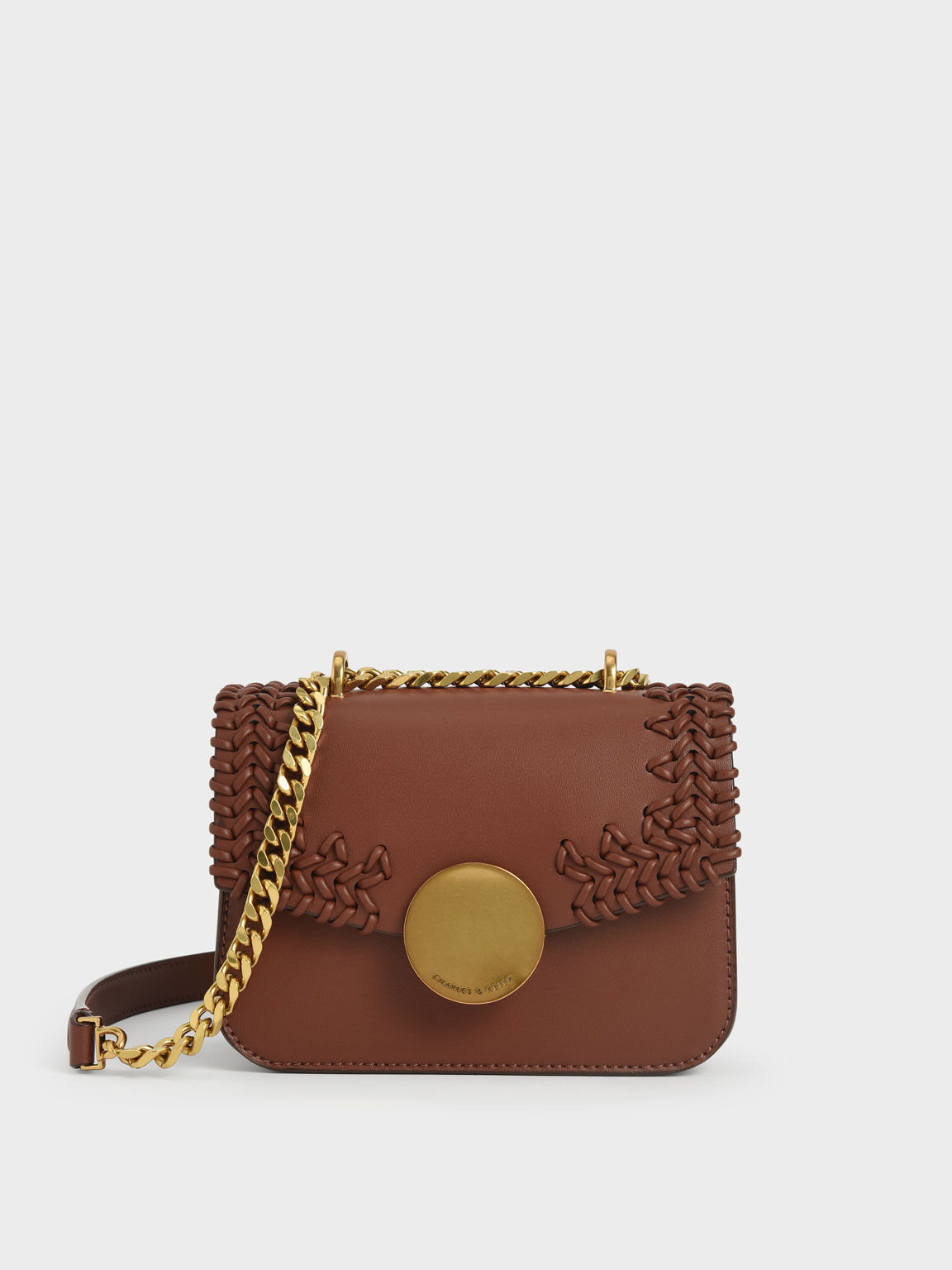 Woven Double Chain Handle Bag, Chocolate, hi-res