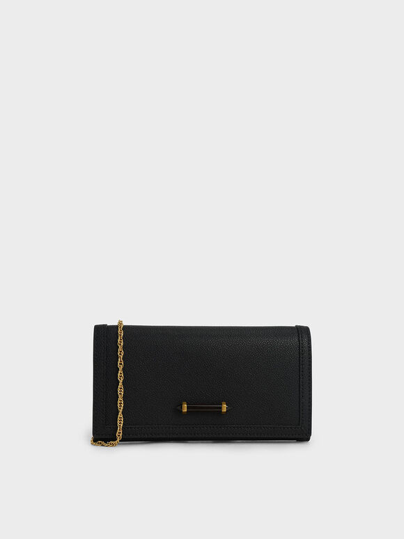 Stone-Embellished Front Flap Long Wallet, Black, hi-res