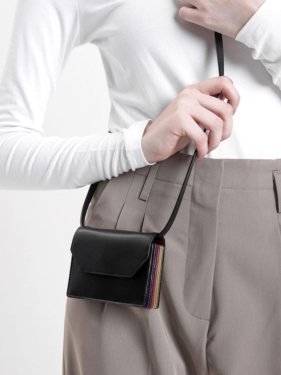 Front Flap Card Holder, Black, hi-res