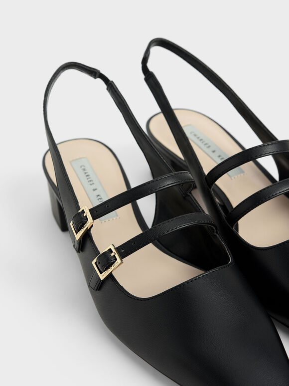 Slingback Mary Janes, Black, hi-res