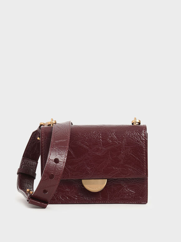Round Metal Accent Wrinkled Effect Bag, Burgundy, hi-res