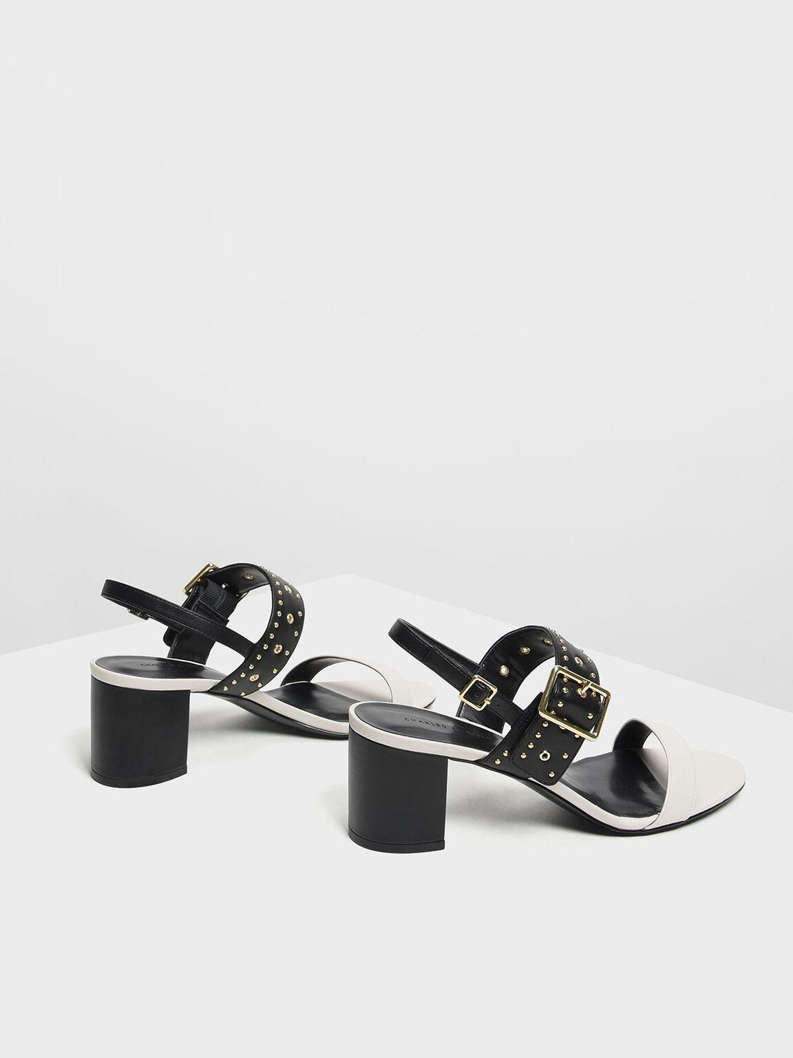 鉚釘粗跟涼鞋, 石灰白, hi-res