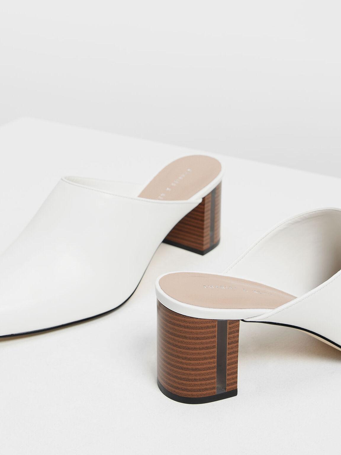 Wooden Block Heel Mules, White, hi-res